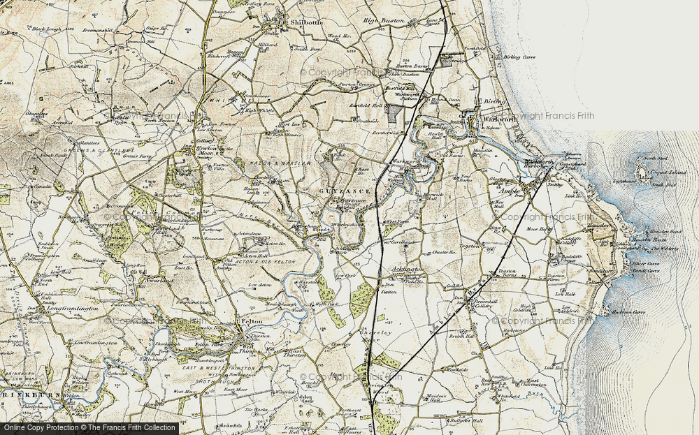 Old Map of Historic Map covering Acklington Park in 1901-1903