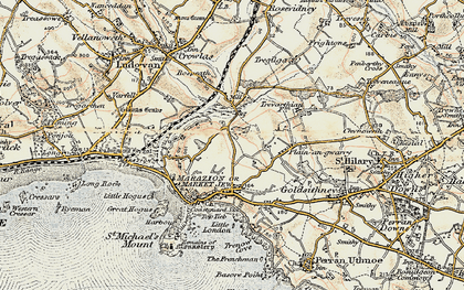 Old map of Gwallon in 1900