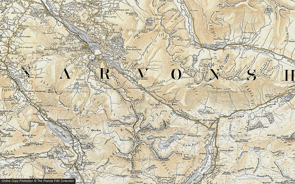 Old Map of Historic Map covering Afon Las in 1903-1910
