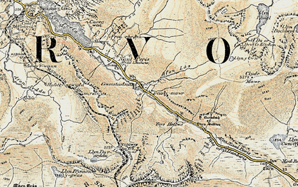 Old map of Afon Las in 1903-1910