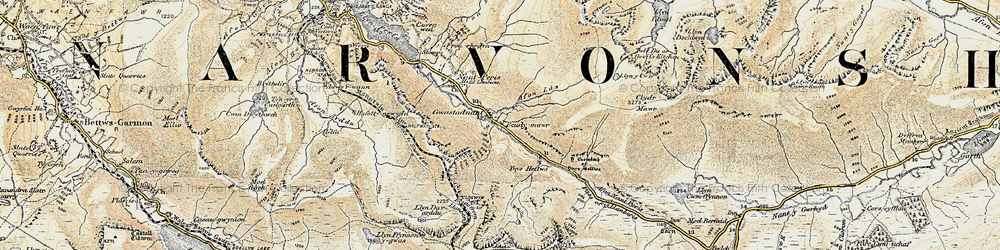 Old map of Afon Las in 1903-1910