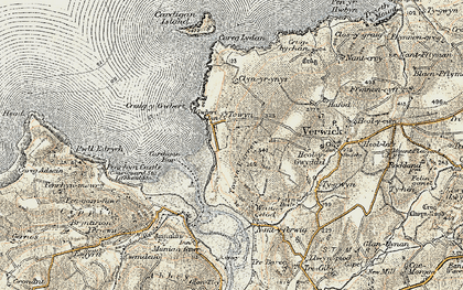 Old map of Gwbert in 1901