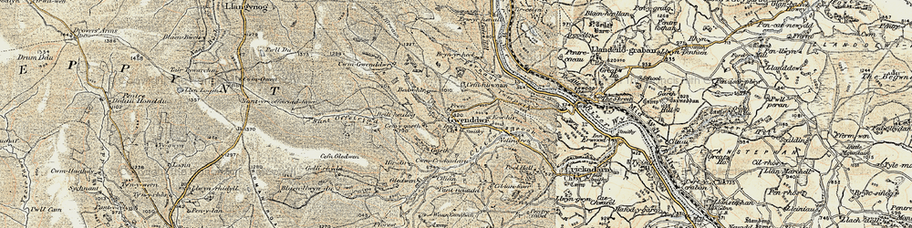 Old map of Wye Valley Walk in 1900-1902