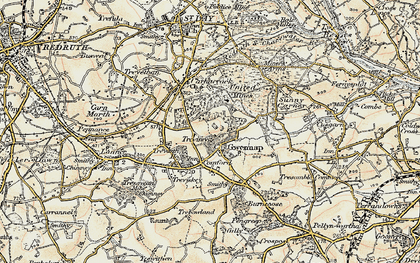Old map of Gwennap in 1900