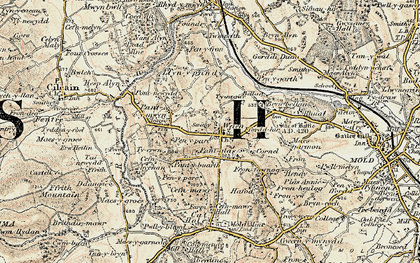 Old map of Gwernaffield in 1902-1903