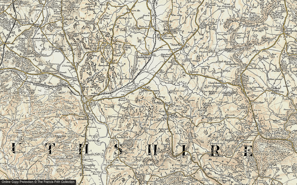 Old Map of Historic Map covering Allt-y-bela in 1899-1900