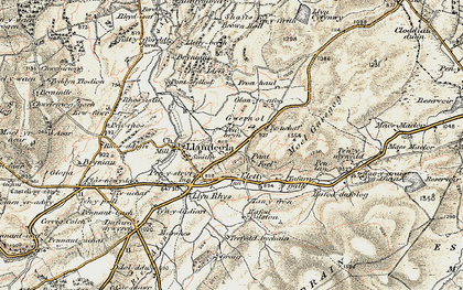 Old map of Gwernol in 1902-1903