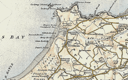 Old map of Gwithian in 1900
