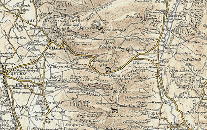 Old map of Gyrn in 1902-1903