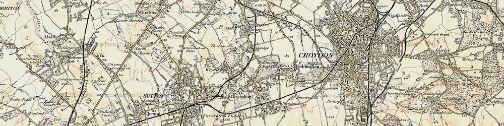 Old map of Hackbridge in 1897-1909