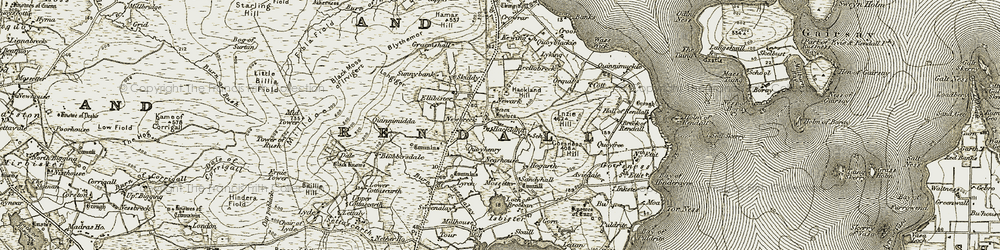 Old map of Tingwall in 1911-1912