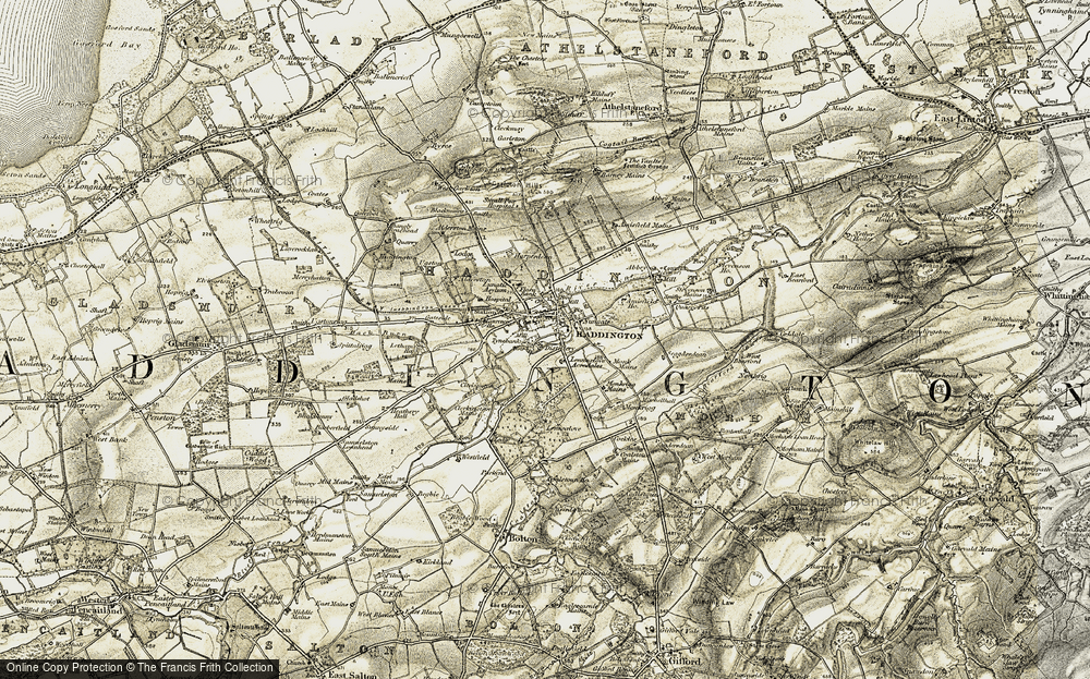 Old Map of Historic Map covering Lennoxlove Mains in 1901-1903