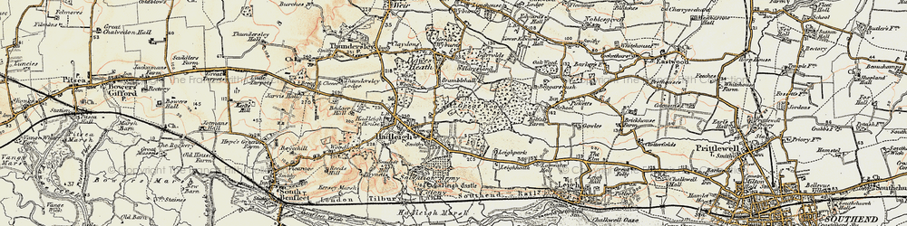 Old map of Hadleigh in 1898