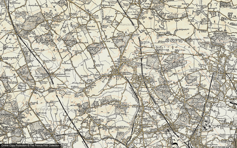 Old Map of Historic Map covering Barnet in 1897-1898