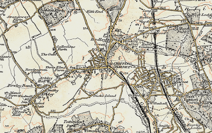 Old map of Hadley in 1897-1898
