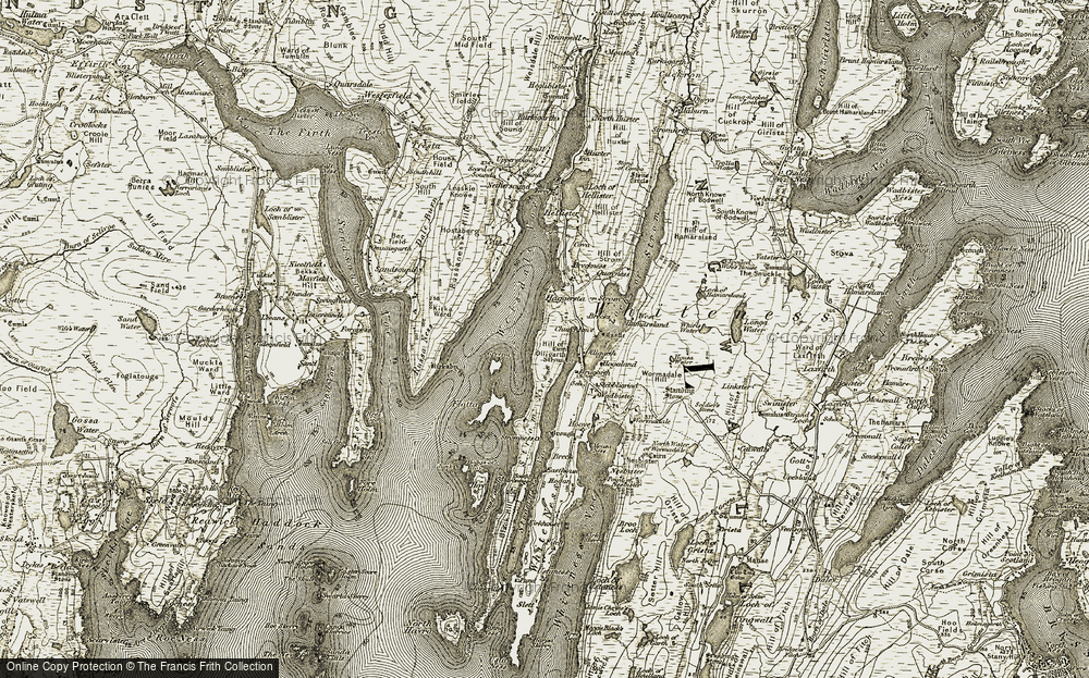 Old Map of Historic Map covering Wormadale Hill in 1911-1912