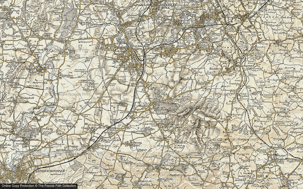 Old Map of Historic Map covering Wychbury in 1901-1902