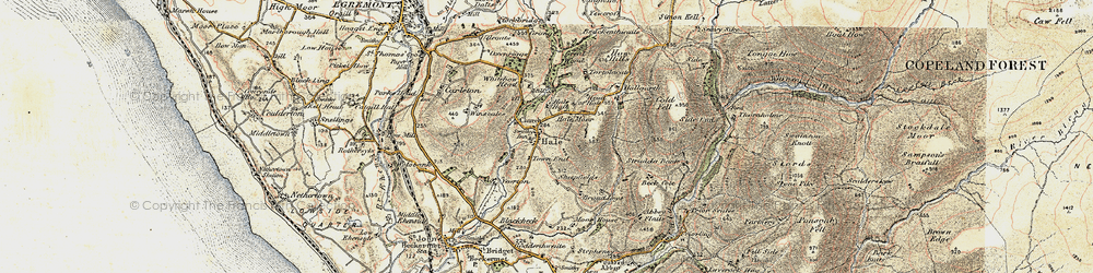 Old map of Whitehow Head in 1903-1904