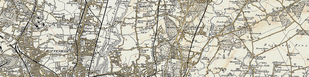 Old map of Hale End in 1897-1898