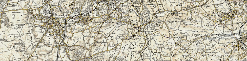 Old map of Halesowen in 1901-1902