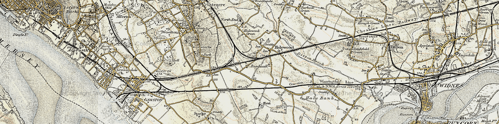 Old map of Halewood in 1902-1903