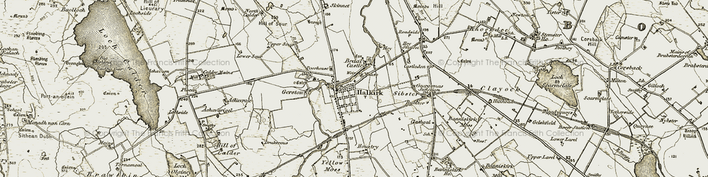 Old map of Halkirk in 1911-1912