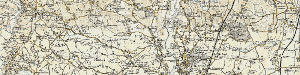 Old map of Hallow in 1899-1902