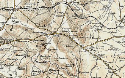 Old map of Hallworthy in 1900