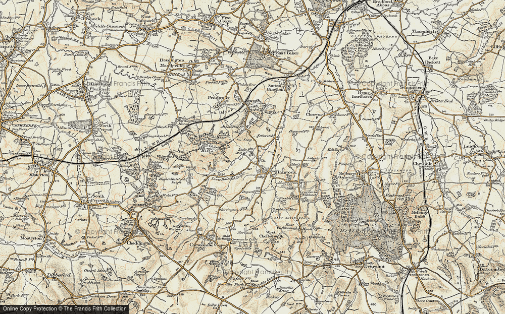 Old Map of Halstock, 1899 in 1899