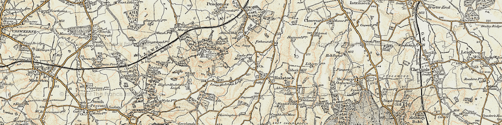 Old map of Halstock in 1899