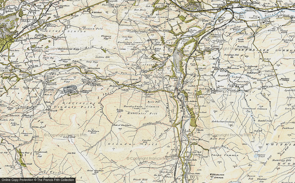 Old Map of Historic Map covering Ash Cleugh in 1901-1904