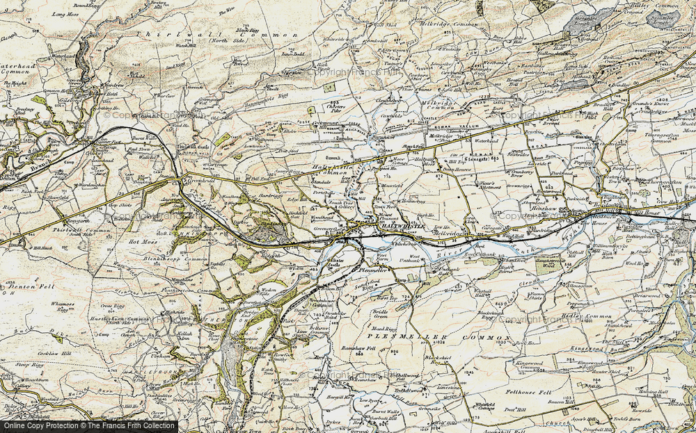 Old Map of Historic Map covering Aesica (Roman Fort) in 1903-1904