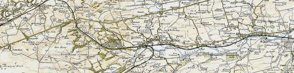 Old map of Aesica (Roman Fort) in 1903-1904