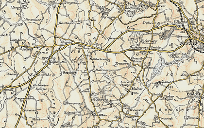 Old map of Halvosso in 1900
