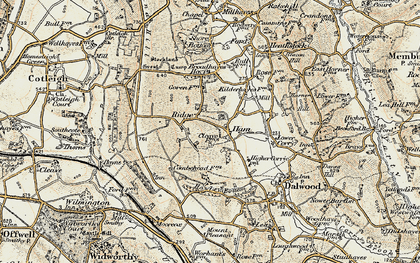 Old map of Yonder Ridge in 1898-1900