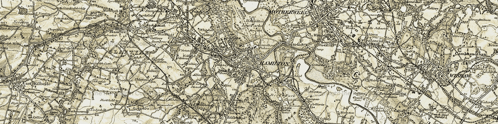 Old map of Hamilton in 1904-1905