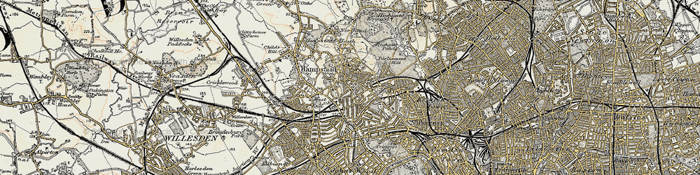 Old map of Hampstead in 1897-1909