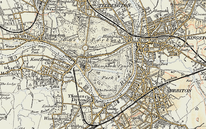 Old map of Hampton Court in 1897-1909
