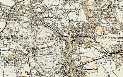 Old map of Hampton Wick in 1897-1909