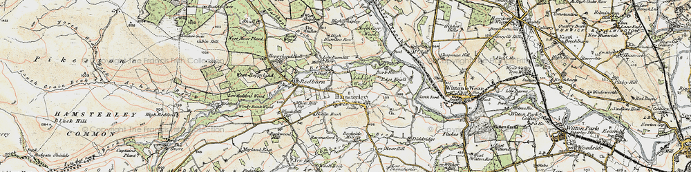 Old map of Hamsterley in 1903-1904