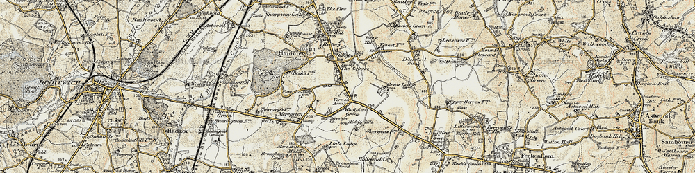 Old map of Hanbury in 1899-1902
