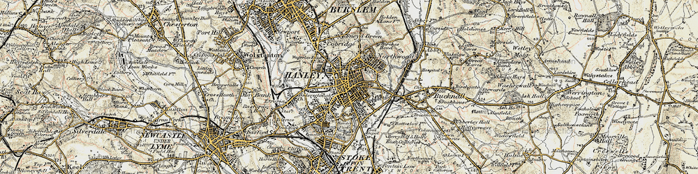 Old map of Hanley in 1902