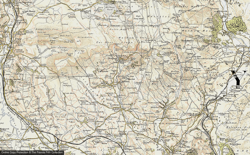Old Map of Historic Map covering Whetstone Gill in 1903-1904