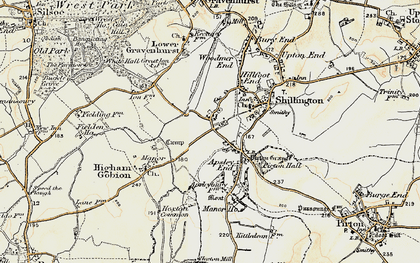 Old map of Hanscombe End in 1898-1899