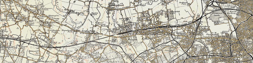 Old map of Hanwell in 1897-1909