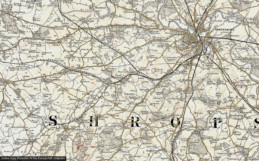 Old Map of Historic Map covering Wood Hall in 1902