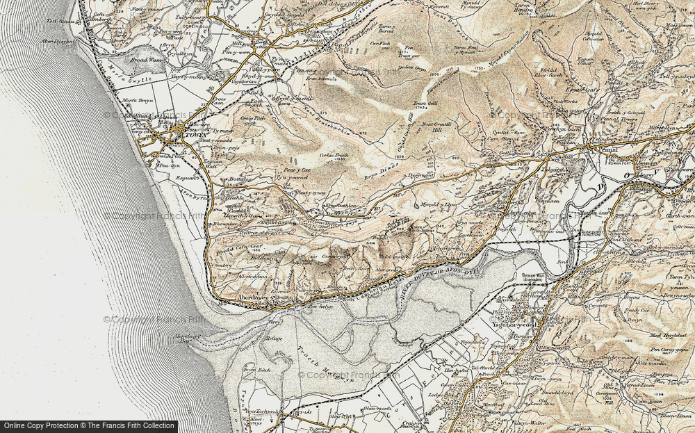 Old Map of Historic Map covering Afon Dyffryn-gwyn in 1902-1903