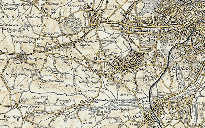 Old map of Harborne in 1901-1902