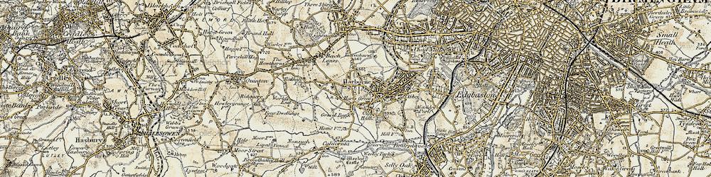 Old map of Harborne in 1901-1902