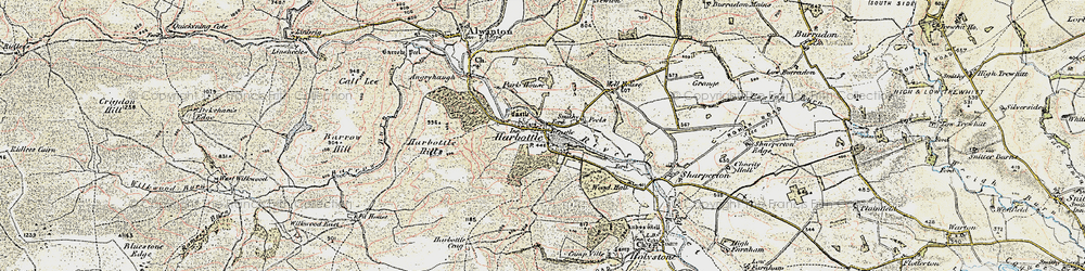 Old map of Harbottle in 1901-1903